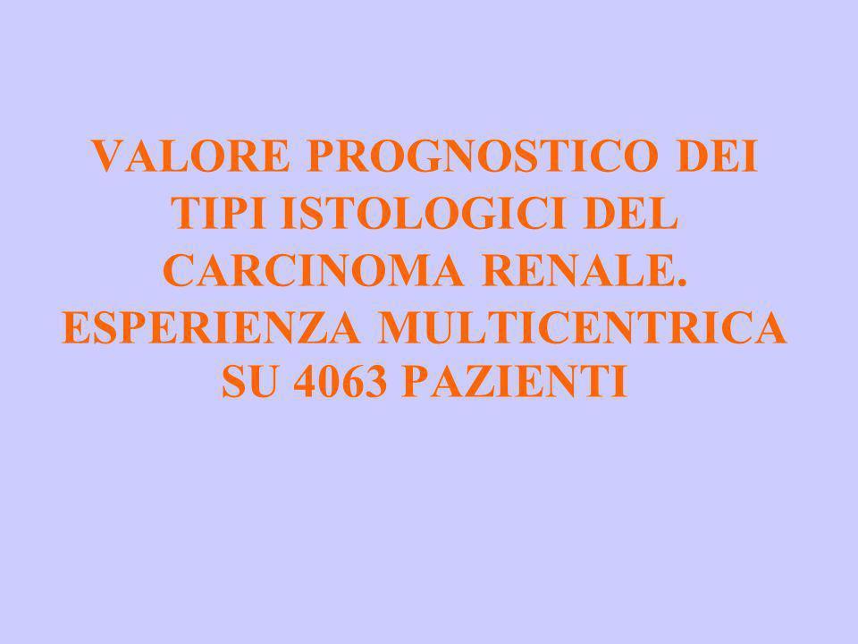 VALORE PROGNOSTICO DEI TIPI ISTOLOGICI DEL CARCINOMA RENALE. ESPERIENZA MULTICENTRICA SU 4063 PAZIENTI