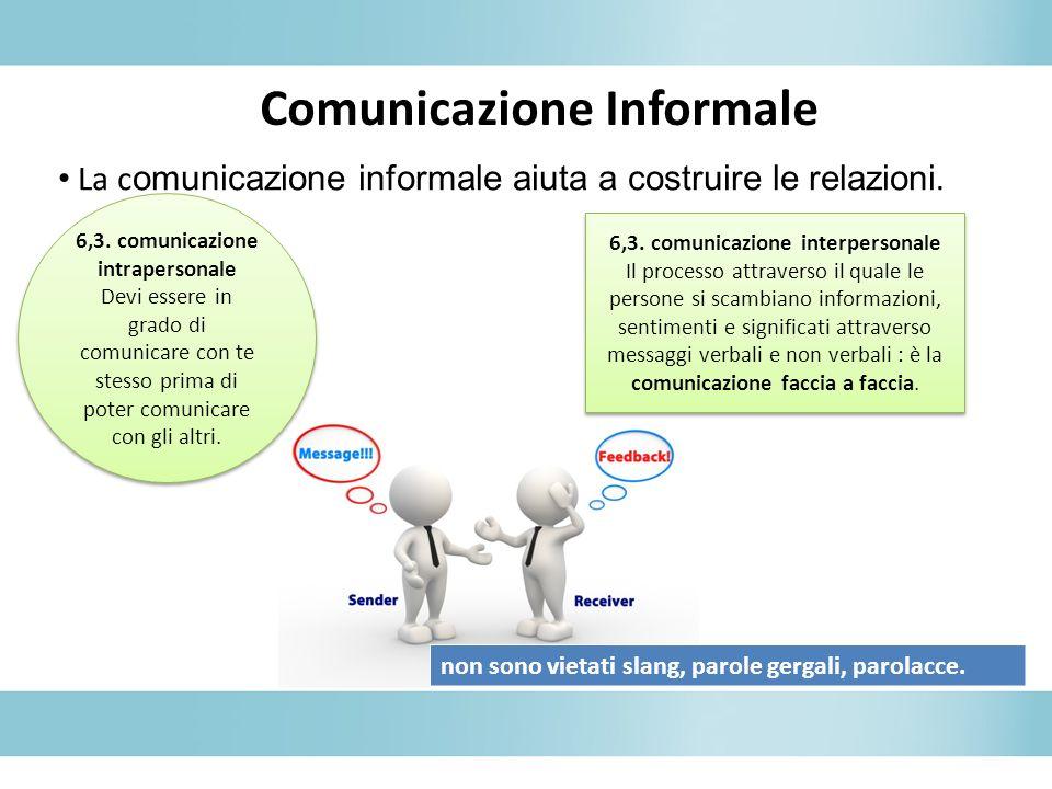 Comunicazione Informale La c omunicazione informale aiuta a costruire le relazioni.