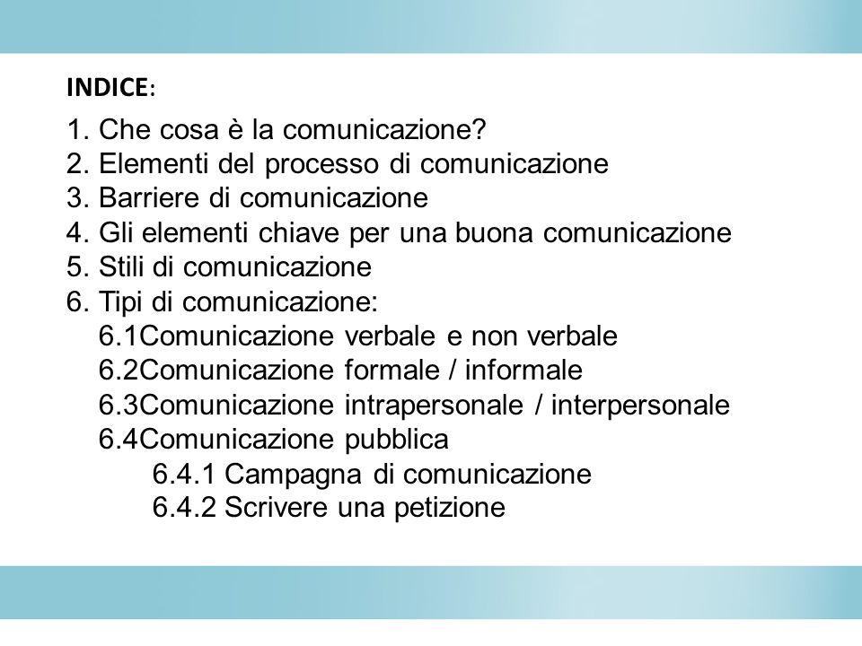 INDICE : 1.Che cosa è la comunicazione.