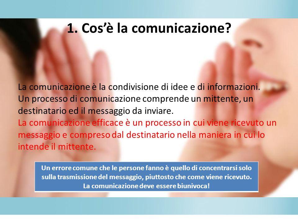 1.Cosè la comunicazione. La comunicazione è la condivisione di idee e di informazioni.