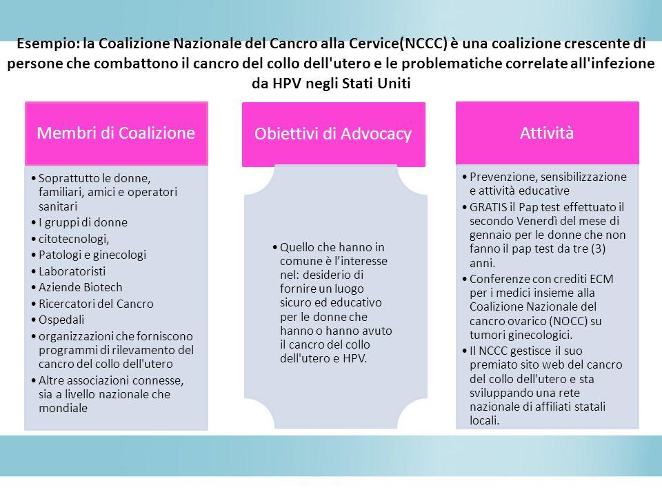 Esempio: la Coalizione Nazionale del Cancro alla Cervice(NCCC) è una coalizione crescente di persone che combattono il cancro del collo dell'utero e l