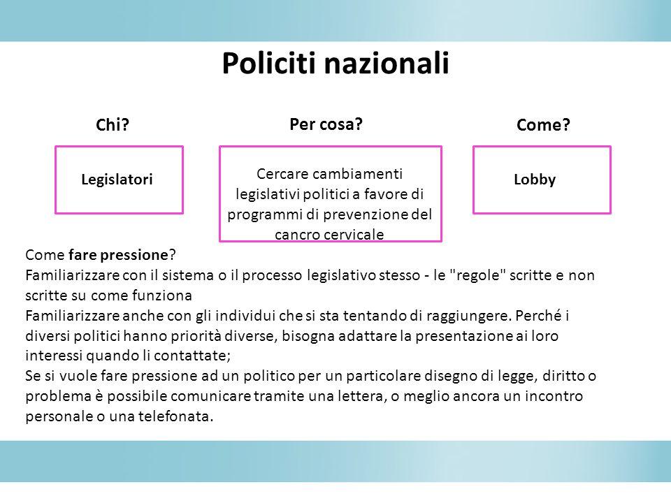 Policiti nazionali Come fare pressione? Familiarizzare con il sistema o il processo legislativo stesso - le