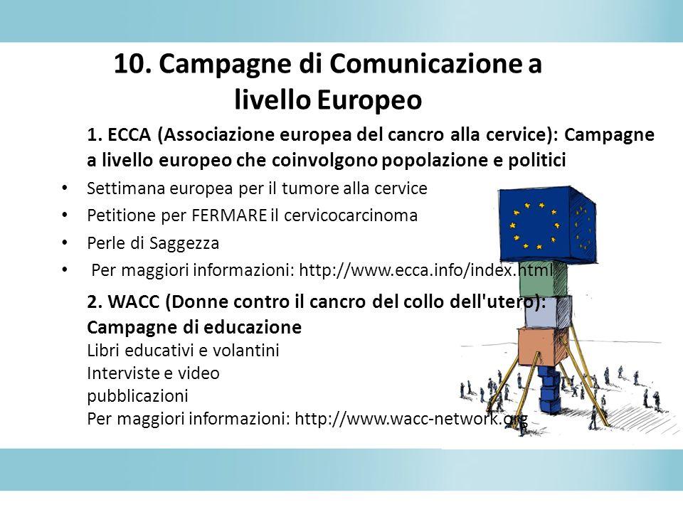 10. Campagne di Comunicazione a livello Europeo 1. ECCA (Associazione europea del cancro alla cervice): Campagne a livello europeo che coinvolgono pop