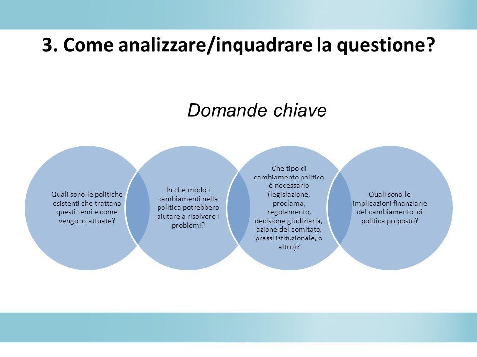 3. Come analizzare/inquadrare la questione? Quali sono le politiche esistenti che trattano questi temi e come vengono attuate? In che modo i cambiamen