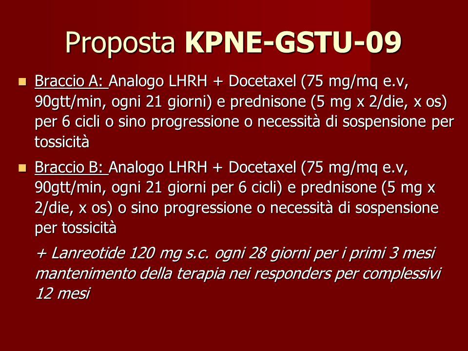Proposta KPNE-GSTU-09 Braccio A: Analogo LHRH + Docetaxel (75 mg/mq e.v, 90gtt/min, ogni 21 giorni) e prednisone (5 mg x 2/die, x os) per 6 cicli o si