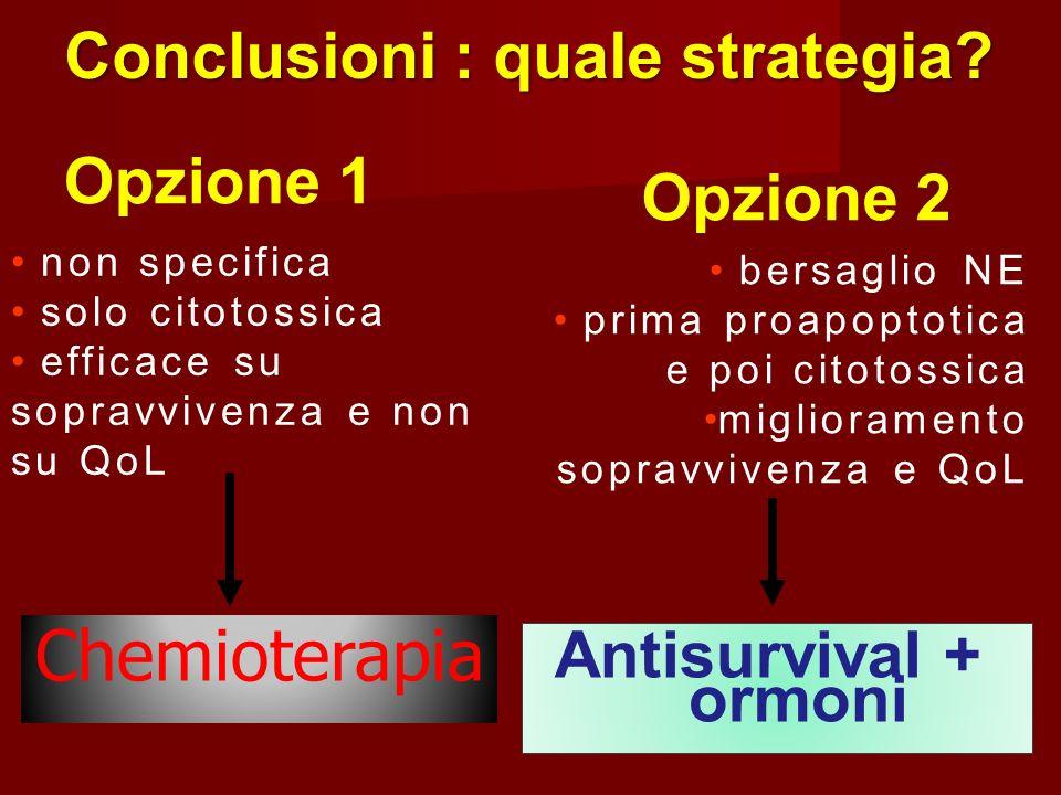 Conclusioni : quale strategia? Opzione 1 non specifica solo citotossica efficace su sopravvivenza e non su QoL Opzione 2 bersaglio NE prima proapoptot