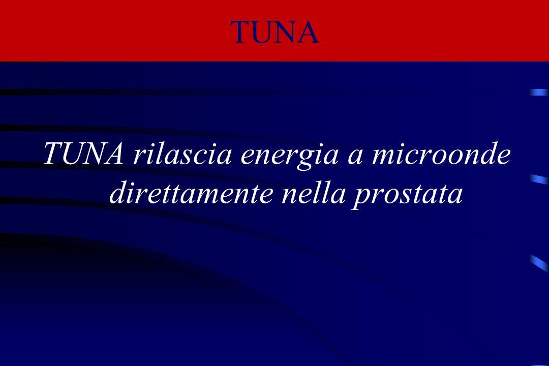 TUNA rilascia energia a microonde direttamente nella prostata TUNA