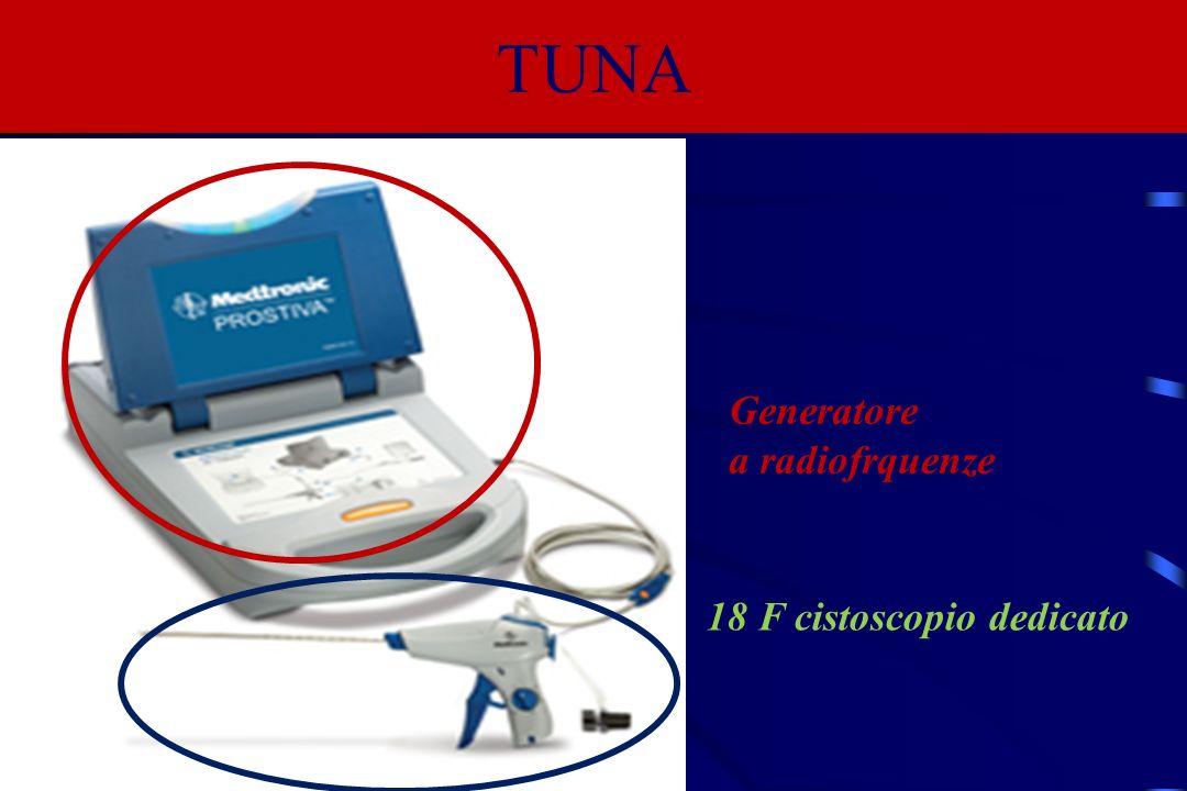 2 aghi flessibili, inseribili nella prostata, emergendo dalla punta del cistoscopio TUNA