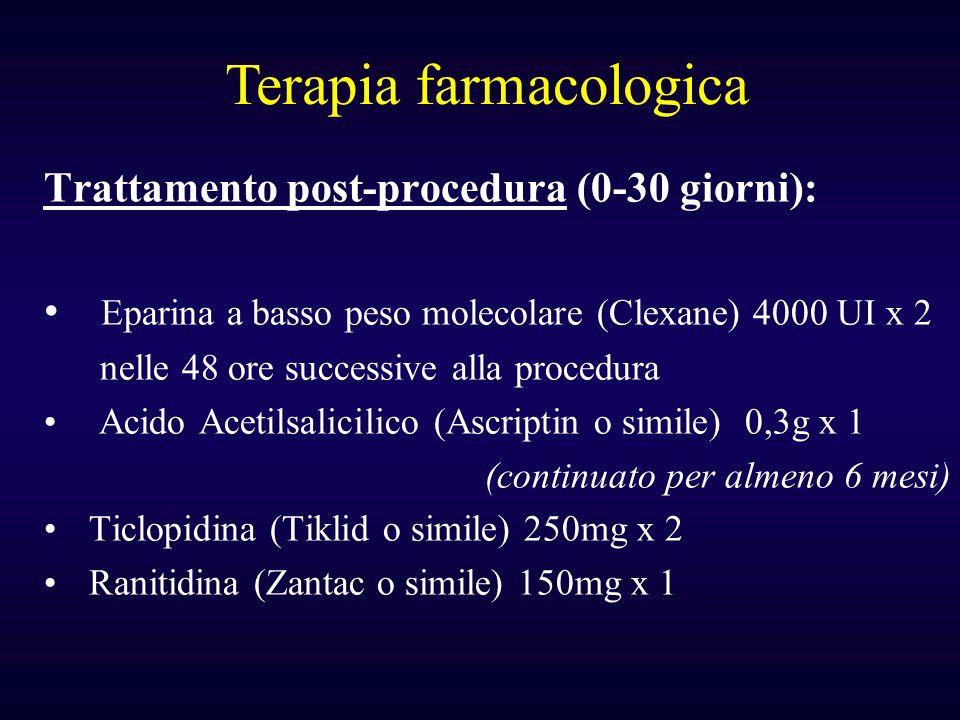 Trattamento post-procedura (0-30 giorni): Eparina a basso peso molecolare (Clexane) 4000 UI x 2 nelle 48 ore successive alla procedura Acido Acetilsal