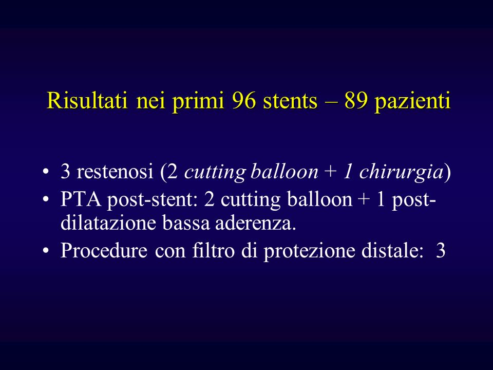 3 restenosi (2 cutting balloon + 1 chirurgia) PTA post-stent: 2 cutting balloon + 1 post- dilatazione bassa aderenza.