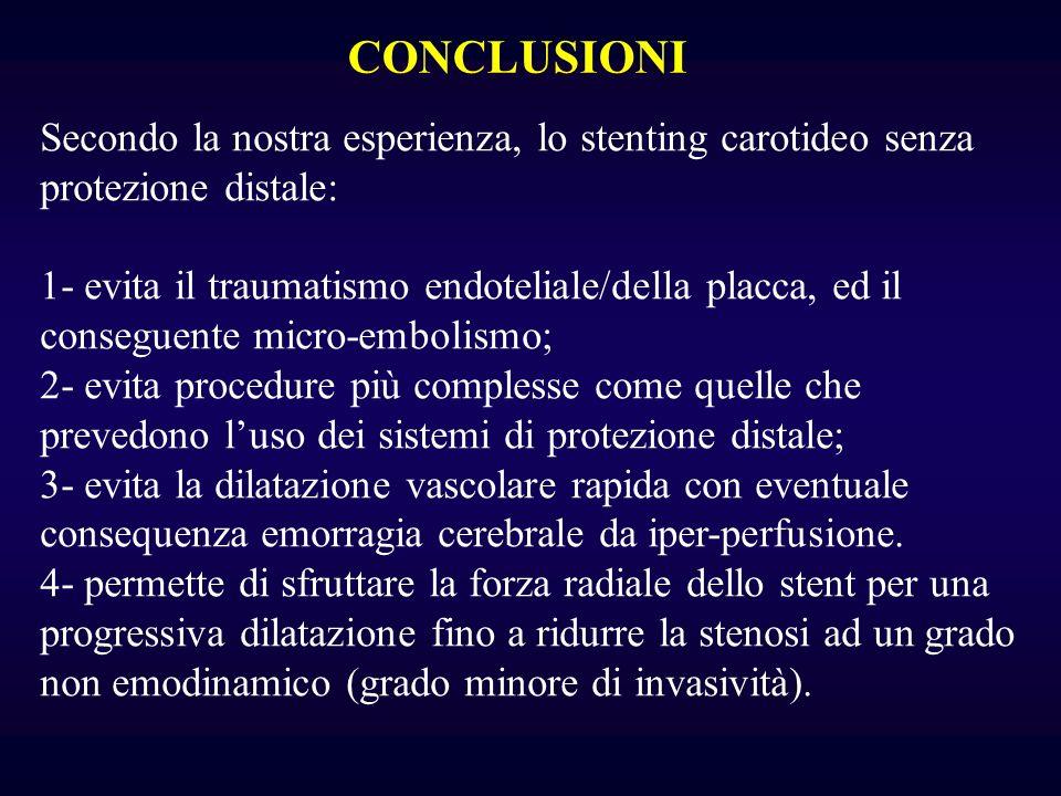 CONCLUSIONI Secondo la nostra esperienza, lo stenting carotideo senza protezione distale: 1- evita il traumatismo endoteliale/della placca, ed il cons