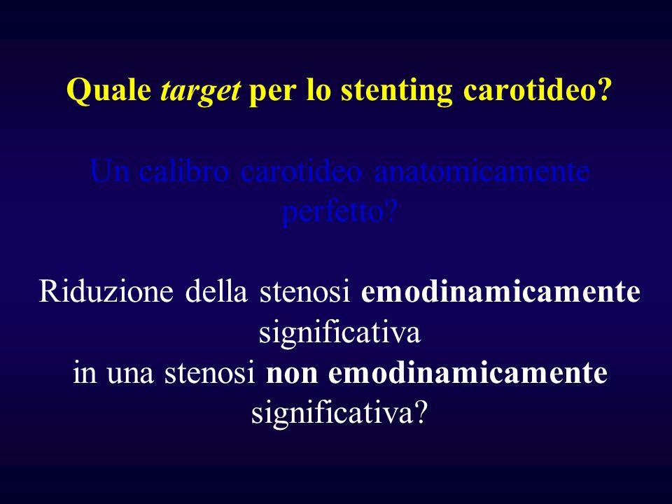 Quale target per lo stenting carotideo? Un calibro carotideo anatomicamente perfetto? Riduzione della stenosi emodinamicamente significativa in una st