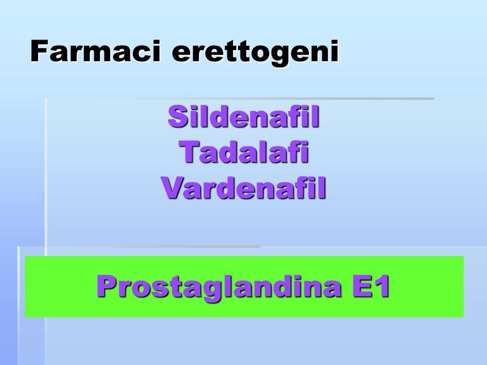 Sildenafil Tadalafi Vardenafil Prostaglandina E1 Farmaci erettogeni