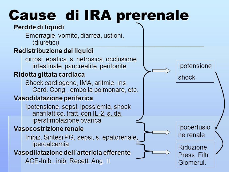 Cause di IRA prerenale Perdite di liquidi Emorragie, vomito, diarrea, ustioni, (diuretici) Redistribuzione dei liquidi cirrosi, epatica, s.