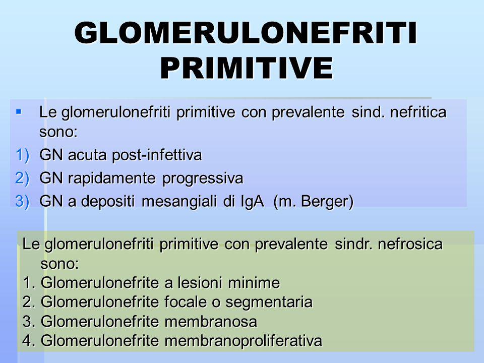 GLOMERULONEFRITI PRIMITIVE Le glomerulonefriti primitive con prevalente sind. nefritica sono: Le glomerulonefriti primitive con prevalente sind. nefri