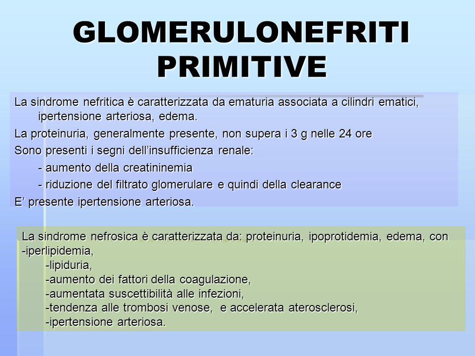 GLOMERULONEFRITI PRIMITIVE La sindrome nefritica è caratterizzata da ematuria associata a cilindri ematici, ipertensione arteriosa, edema. La proteinu