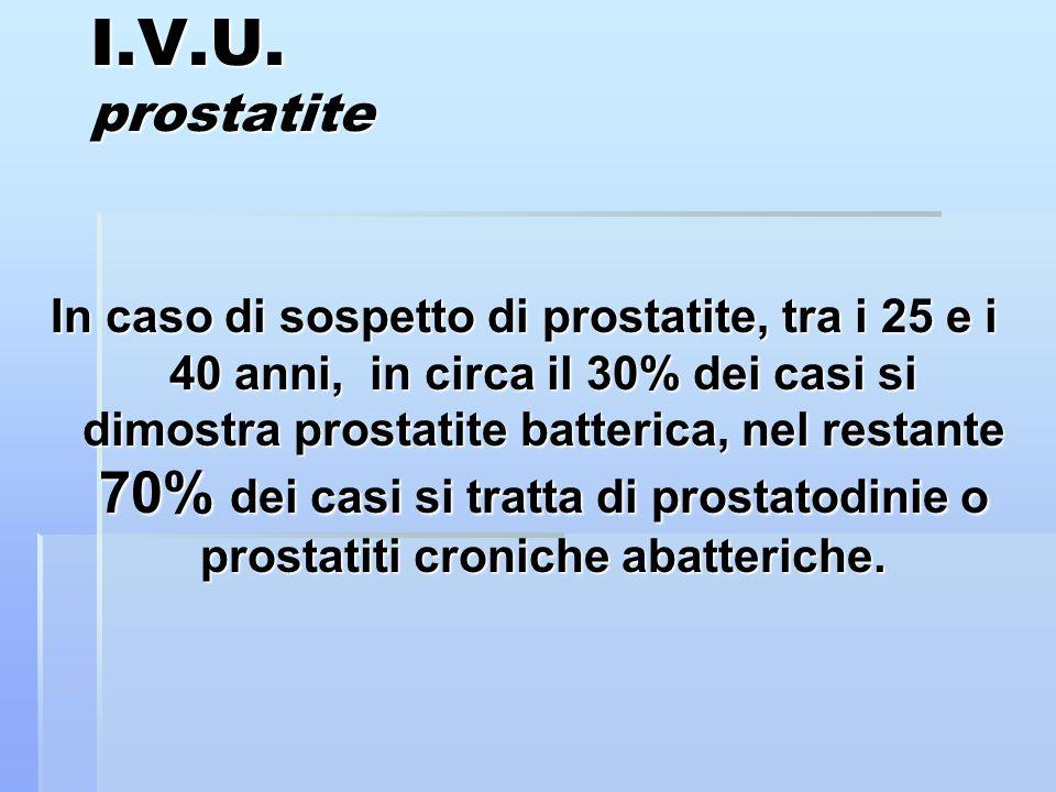 I.V.U. prostatite In caso di sospetto di prostatite, tra i 25 e i 40 anni, in circa il 30% dei casi si dimostra prostatite batterica, nel restante 70%