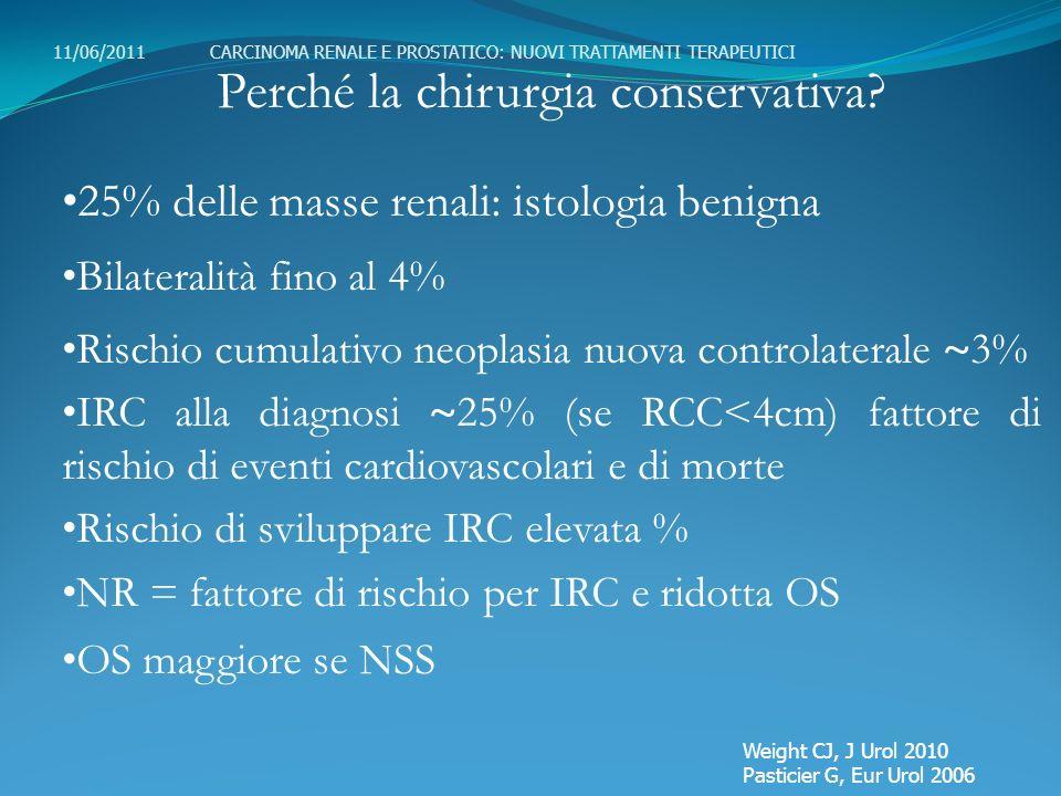Perché la chirurgia conservativa? 25% delle masse renali: istologia benigna Bilateralità fino al 4% Rischio cumulativo neoplasia nuova controlaterale