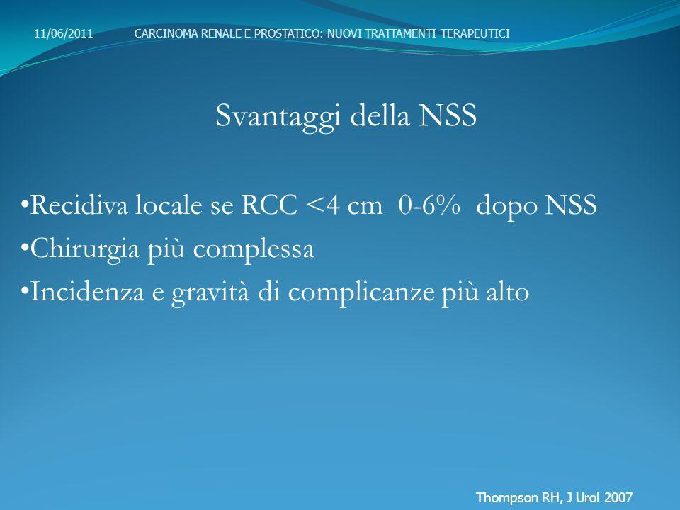Svantaggi della NSS Recidiva locale se RCC <4 cm 0-6% dopo NSS Chirurgia più complessa Incidenza e gravità di complicanze più alto 11/06/2011 CARCINOM