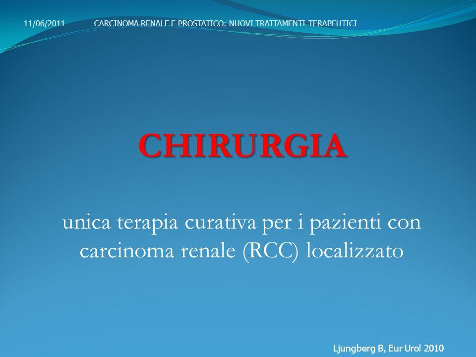 CHIRURGIA unica terapia curativa per i pazienti con carcinoma renale (RCC) localizzato Ljungberg B, Eur Urol 2010 11/06/2011 CARCINOMA RENALE E PROSTA
