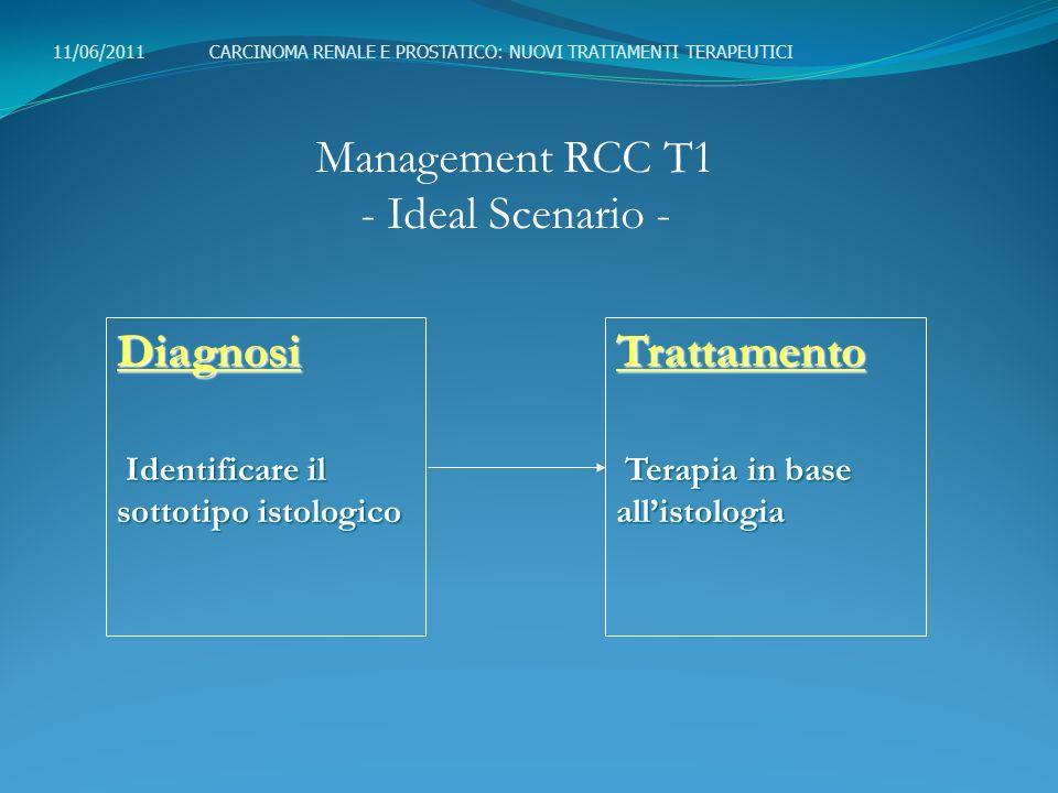 Management RCC T1 - Current Status - 11/06/2011 CARCINOMA RENALE E PROSTATICO: NUOVI TRATTAMENTI TERAPEUTICI Istologia Ematossilina-EosinaEmatossilina-Eosina ImmunoistochimicaImmunoistochimica GeneticaGeneticaTrattamento Chirurgia ChirurgiaDiagnosi Imaging Imaging(US,TC,RM)