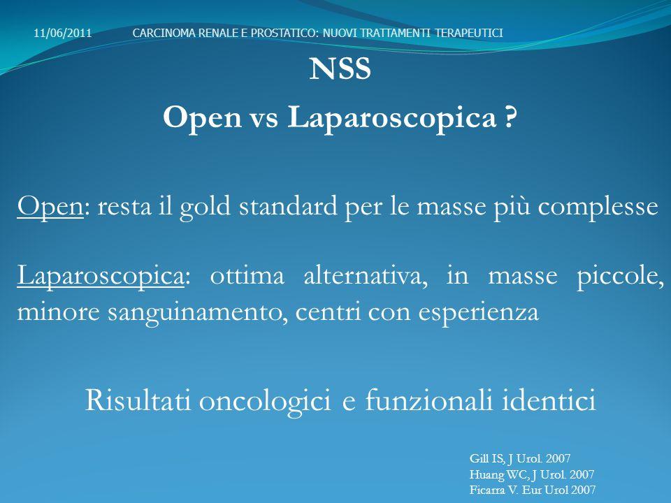 NSS Open vs Laparoscopica ? Open: resta il gold standard per le masse più complesse Laparoscopica: ottima alternativa, in masse piccole, minore sangui