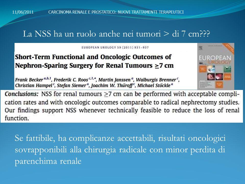La NSS ha un ruolo anche nei tumori > di 7 cm??? Se fattibile, ha complicanze accettabili, risultati oncologici sovrapponibili alla chirurgia radicale