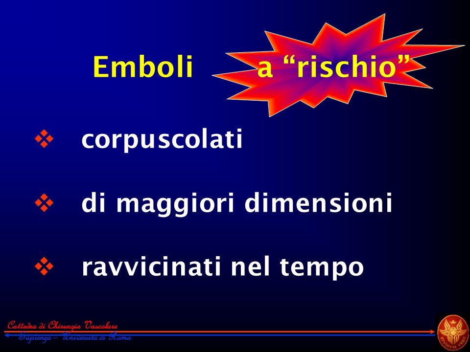 corpuscolati di maggiori dimensioni ravvicinati nel tempo Emboli a rischio Cattedra di Chirurgia Vascolare Sapienza – Università di Roma