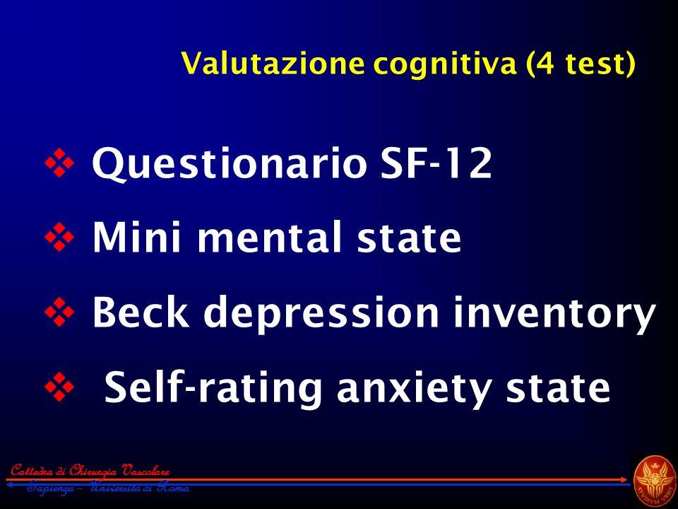 Cattedra di Chirurgia Vascolare Sapienza – Università di Roma Valutazione cognitiva (4 test) Questionario SF-12 Mini mental state Beck depression inve