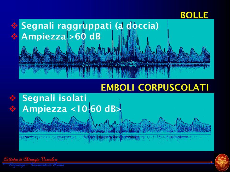 Cattedra di Chirurgia Vascolare Sapienza – Università di Roma EMBOLI CORPUSCOLATI Segnali isolati Ampiezza BOLLE Segnali raggruppati (a doccia) Ampiez