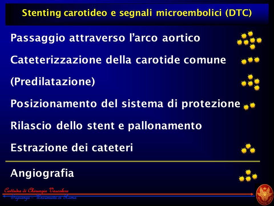 Cattedra di Chirurgia Vascolare Sapienza – Università di Roma Stenting carotideo e segnali microembolici (DTC) Passaggio attraverso larco aortico Cate