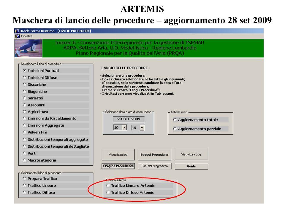 ARTEMIS Maschera di lancio delle procedure – aggiornamento 28 set 2009