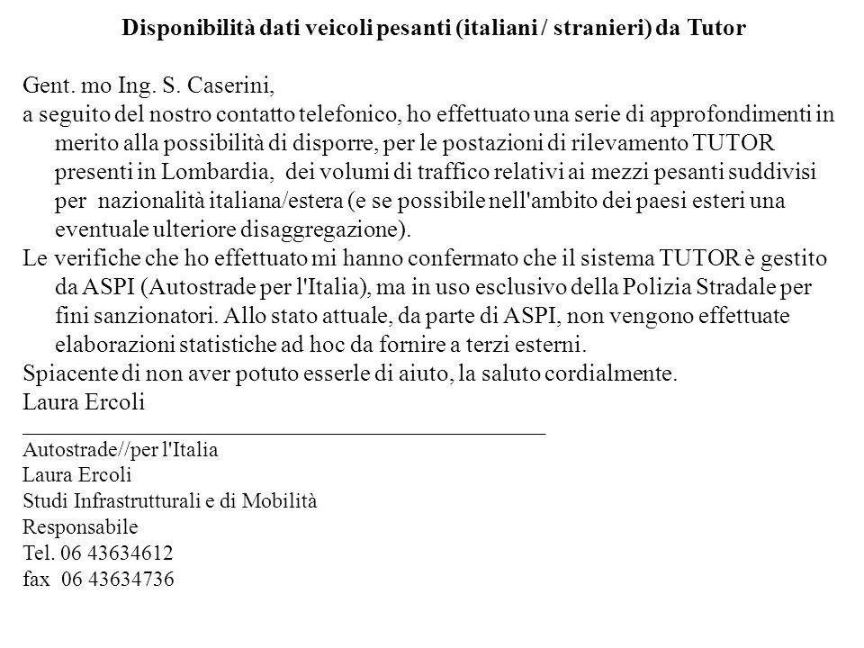 Disponibilità dati veicoli pesanti (italiani / stranieri) da Tutor Gent.