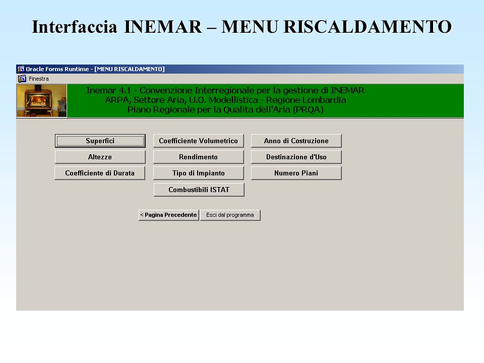 Interfaccia INEMAR – MENU RISCALDAMENTO