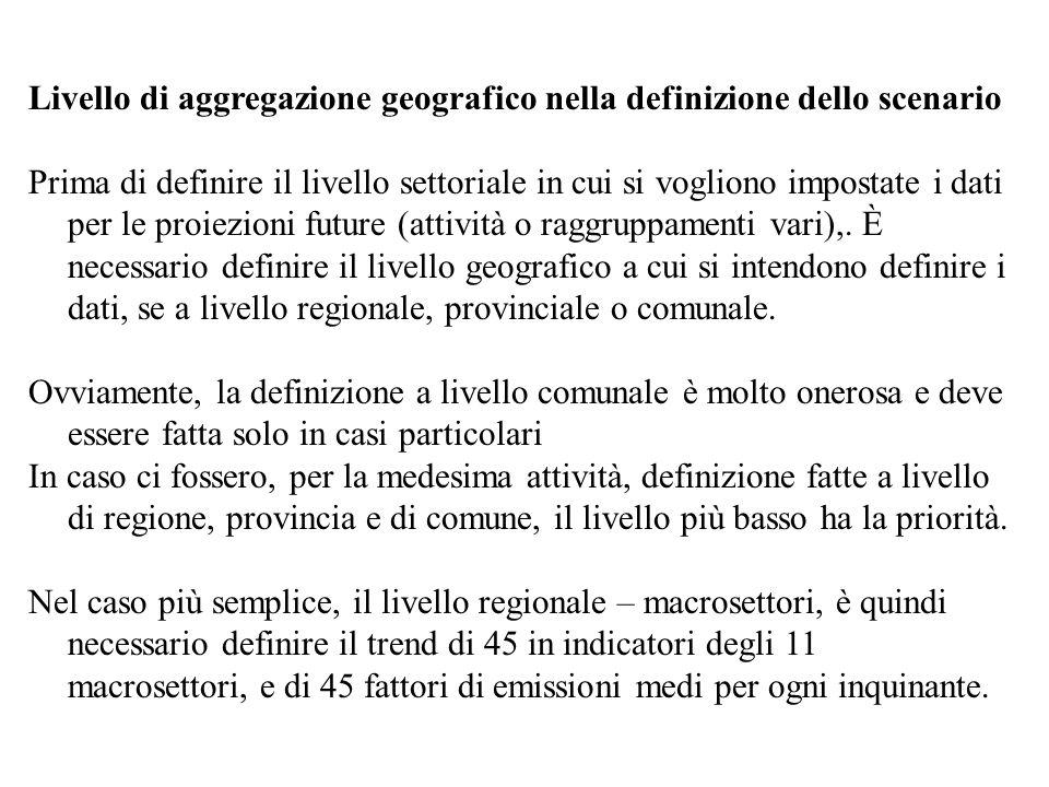 Livello di aggregazione geografico nella definizione dello scenario Prima di definire il livello settoriale in cui si vogliono impostate i dati per le proiezioni future (attività o raggruppamenti vari),.