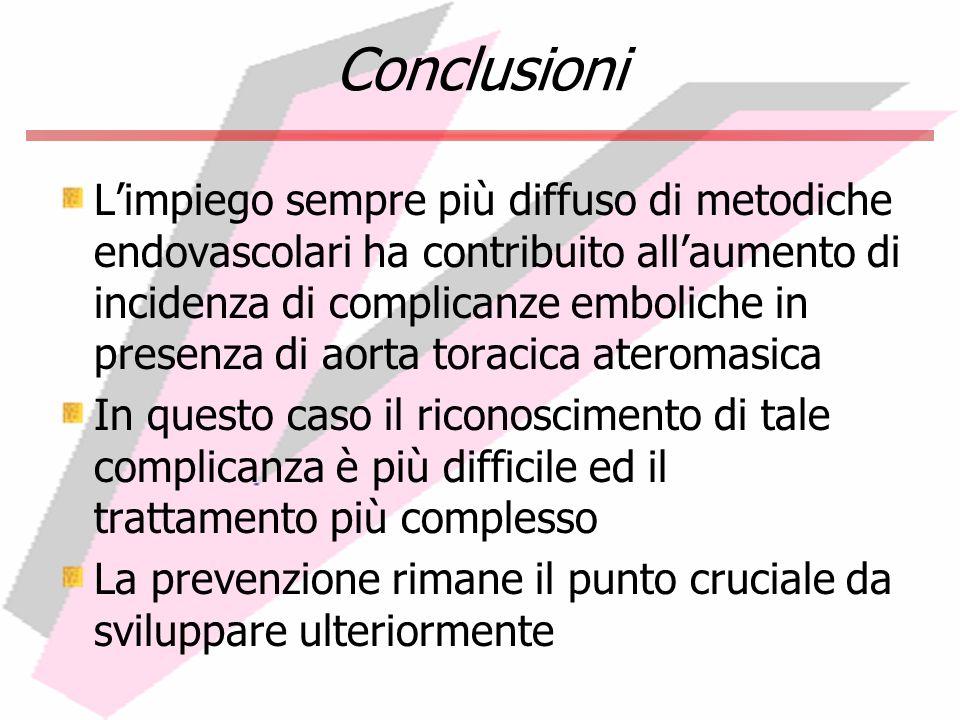 Conclusioni Limpiego sempre più diffuso di metodiche endovascolari ha contribuito allaumento di incidenza di complicanze emboliche in presenza di aort