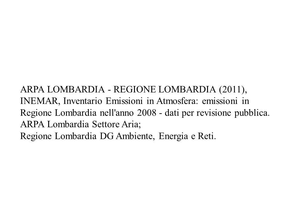 ARPA LOMBARDIA - REGIONE LOMBARDIA (2011), INEMAR, Inventario Emissioni in Atmosfera: emissioni in Regione Lombardia nell anno 2008 - dati per revisione pubblica.
