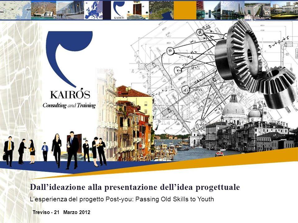 Kairos Kairos è una società di consulenza di direzione e formazione manageriale che da oltre 20 anni ha dedicato il proprio impegno e le proprie risorse al miglioramento e allo sviluppo delle imprese, degli enti pubblici e delle realtà del terzo settore in Veneto e nel Nord-Est dItalia.