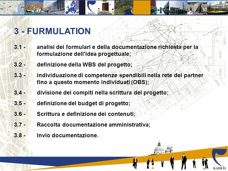 3 - FURMULATION 3.1 - analisi dei formulari e della documentazione richiesta per la formulazione dell idea progettuale; 3.2 - definizione della WBS del progetto; 3.3 - individuazione di competenze spendibili nella rete dei partner fino a questo momento individuati (OBS); 3.4 - divisione dei compiti nella scrittura del progetto; 3.5 - definizione del budget di progetto; 3.6 - Scrittura e definizione dei contenuti; 3.7 - Raccolta documentazione amministrativa; 3.8 - Invio documentazione.