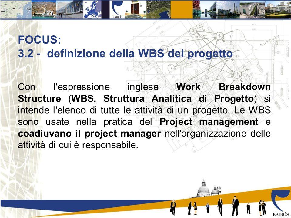 FOCUS: 3.2 - definizione della WBS del progetto Con l espressione inglese Work Breakdown Structure (WBS, Struttura Analitica di Progetto) si intende l elenco di tutte le attività di un progetto.