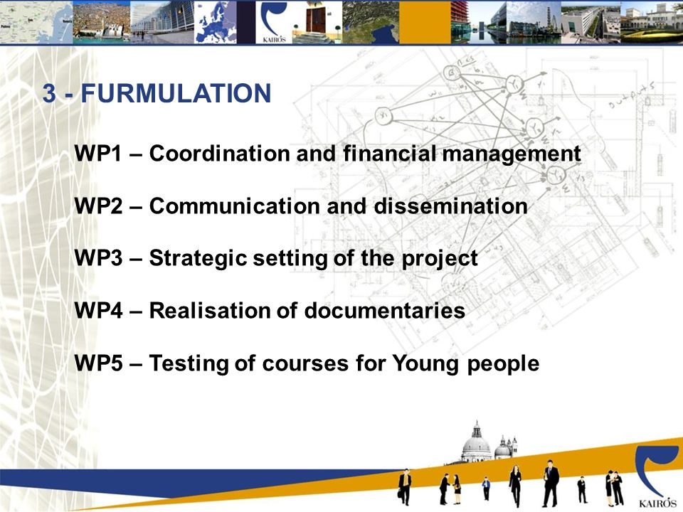 3 - FURMULATION WP1 – Coordination and financial management WP2 – Communication and dissemination WP3 – Strategic setting of the project WP4 – Realisation of documentaries WP5 – Testing of courses for Young people