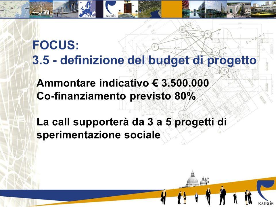 FOCUS: 3.5 - definizione del budget di progetto Ammontare indicativo 3.500.000 Co-finanziamento previsto 80% La call supporterà da 3 a 5 progetti di sperimentazione sociale