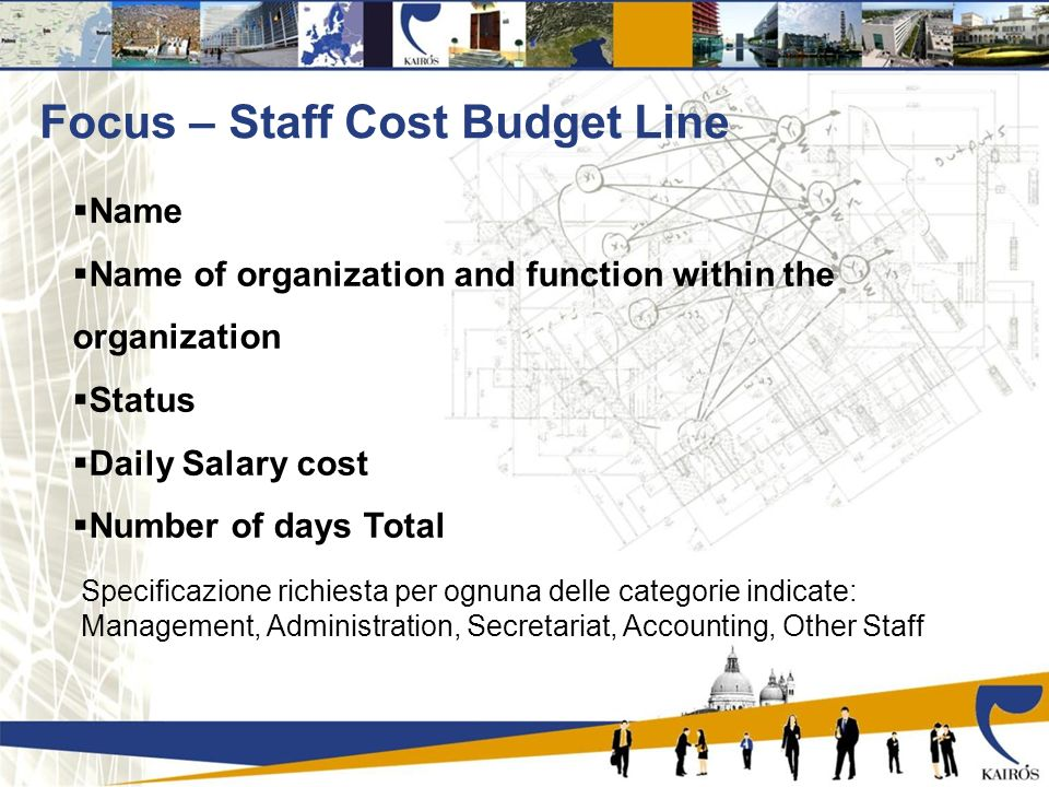 Focus – Staff Cost Budget Line Name Name of organization and function within the organization Status Daily Salary cost Number of days Total Specificazione richiesta per ognuna delle categorie indicate: Management, Administration, Secretariat, Accounting, Other Staff