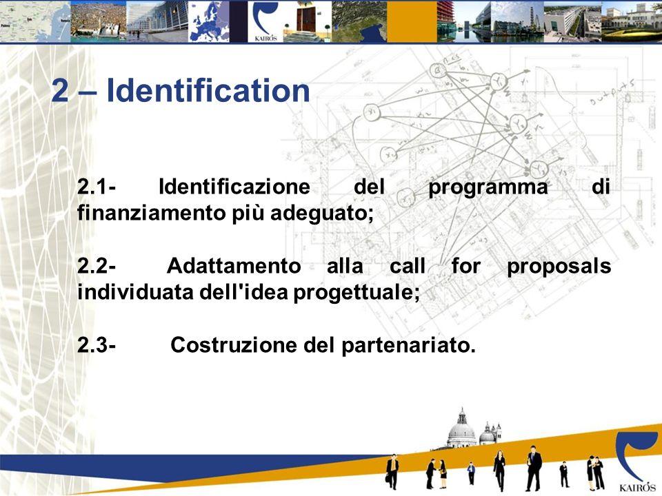 2 – Identification 2.1- Identificazione del programma di finanziamento più adeguato; 2.2- Adattamento alla call for proposals individuata dell idea progettuale; 2.3- Costruzione del partenariato.