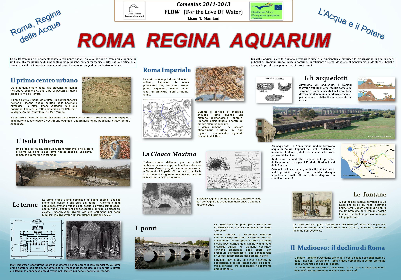 LAcqua e il Potere Roma, Regina delle Acque Il primo centro urbano Il controllo e luso dellacqua divennero parte della cultura latina. I Romani, brill