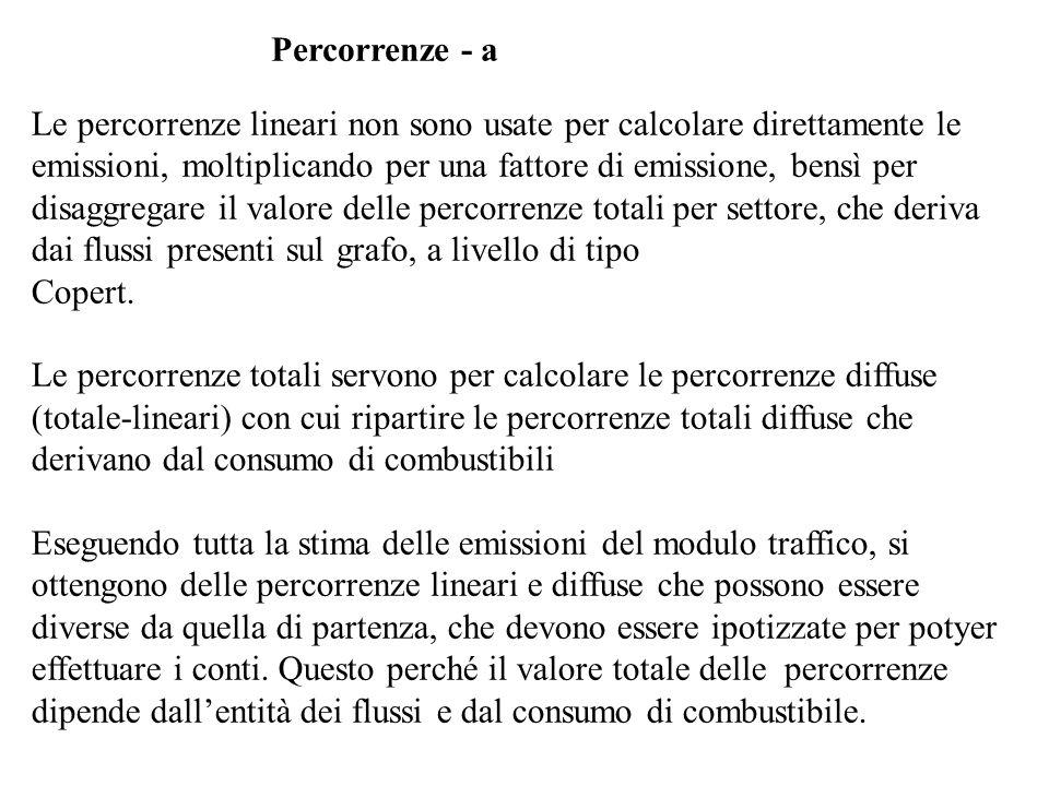 Percorrenze - a Le percorrenze lineari non sono usate per calcolare direttamente le emissioni, moltiplicando per una fattore di emissione, bensì per d