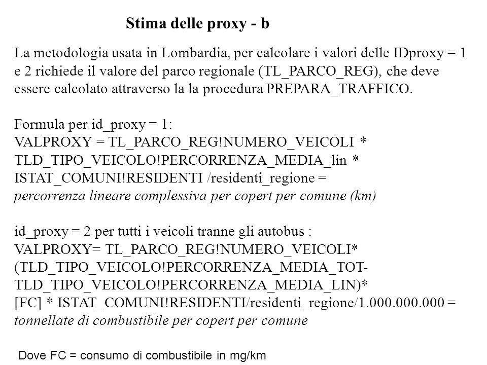 Stima delle proxy - c id_proxy = 2 per i comuni dove sono presenti autobus: VALPROXY= TL_PARCO_REG!NUMERO_VEICOLI* (TLD_TIPO_VEICOLO!PERCORRENZA_MEDIA_TOT- TLD_TIPO_VEICOLO!PERCORRENZA_MEDIA_LIN) * [FC] * ISTAT_COMUNI!RESIDENTI/residenti_copert/1.000.000.000 = tonnellate di combustibile per copert per comune residenti_copert = somma residenti dei comuni ove è presente il copert in oggetto (notare che per definizione la TLD_TIPO_VEICOLO!PERCORRENZA_MEDIA_LIN = è pari a zero ) Dopo aver caricato i datri delle proxy, eseguire nuovamente PREPARA_TRAFFICO per aggiornare le tabelle contenenti la sommatoria delle proxy