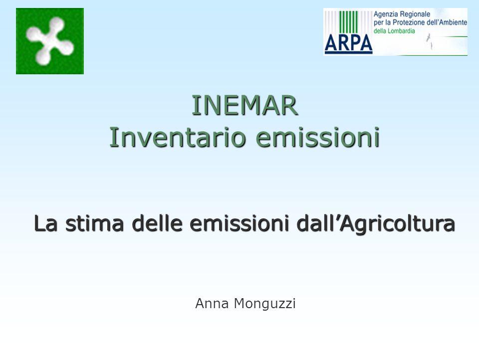 Anna Monguzzi INEMAR Inventario emissioni La stima delle emissioni dallAgricoltura