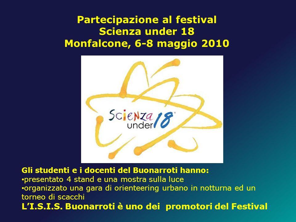 Partecipazione al festival Scienza under 18 Monfalcone, 6-8 maggio 2010 Gli studenti e i docenti del Buonarroti hanno: presentato 4 stand e una mostra