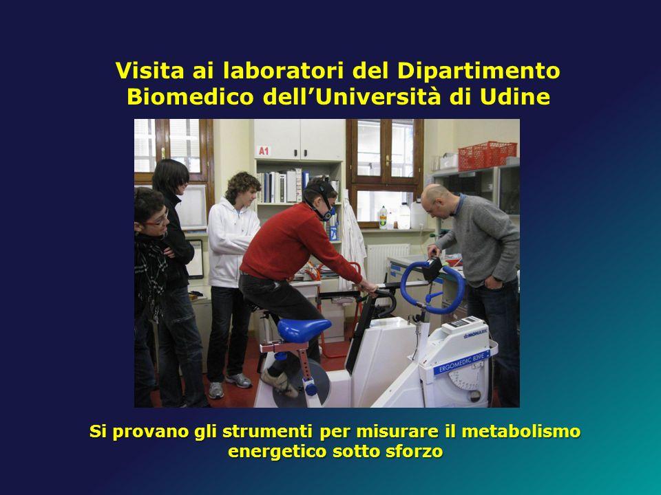 Visita ai laboratori del Dipartimento Biomedico dellUniversità di Udine Si provano gli strumenti per misurare il metabolismo energetico sotto sforzo